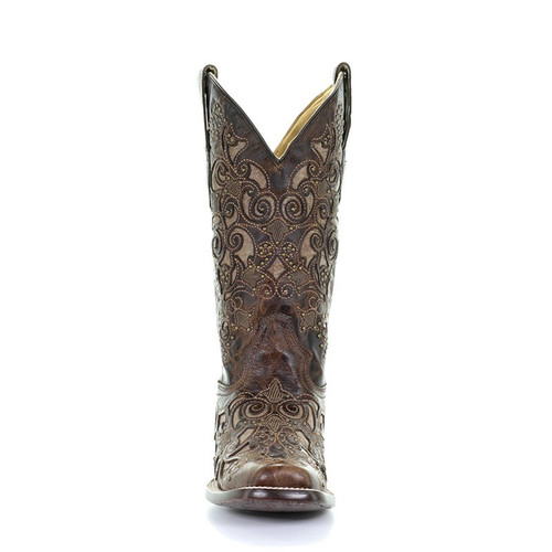 b184c4fb8ab Corral Womens Brown Studded Inlay Square Toe Cowgirl Boots A3326 ...
