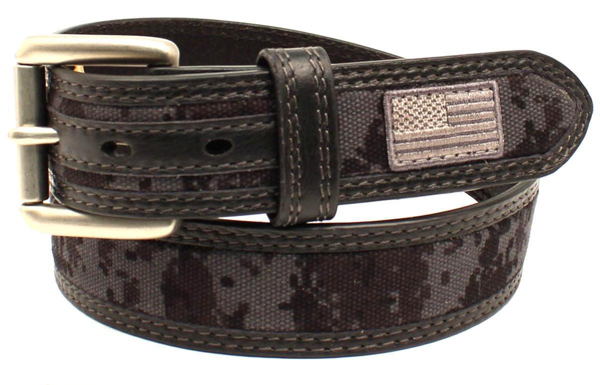 99b1f7792d785 Ariat Men's Black Patriot Black Digital Camo USA Belt A1035001 ...