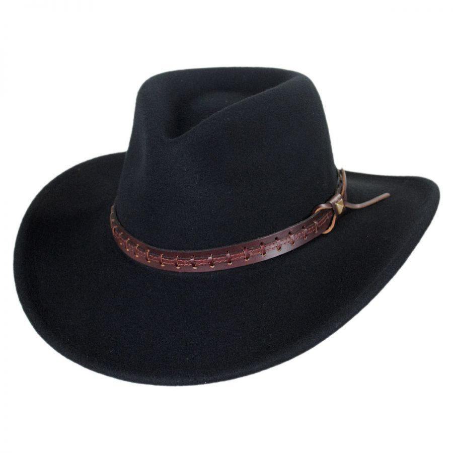 01539fd6a Bailey Firehole Black Western Cowboy Hat Crushable Wool Felt