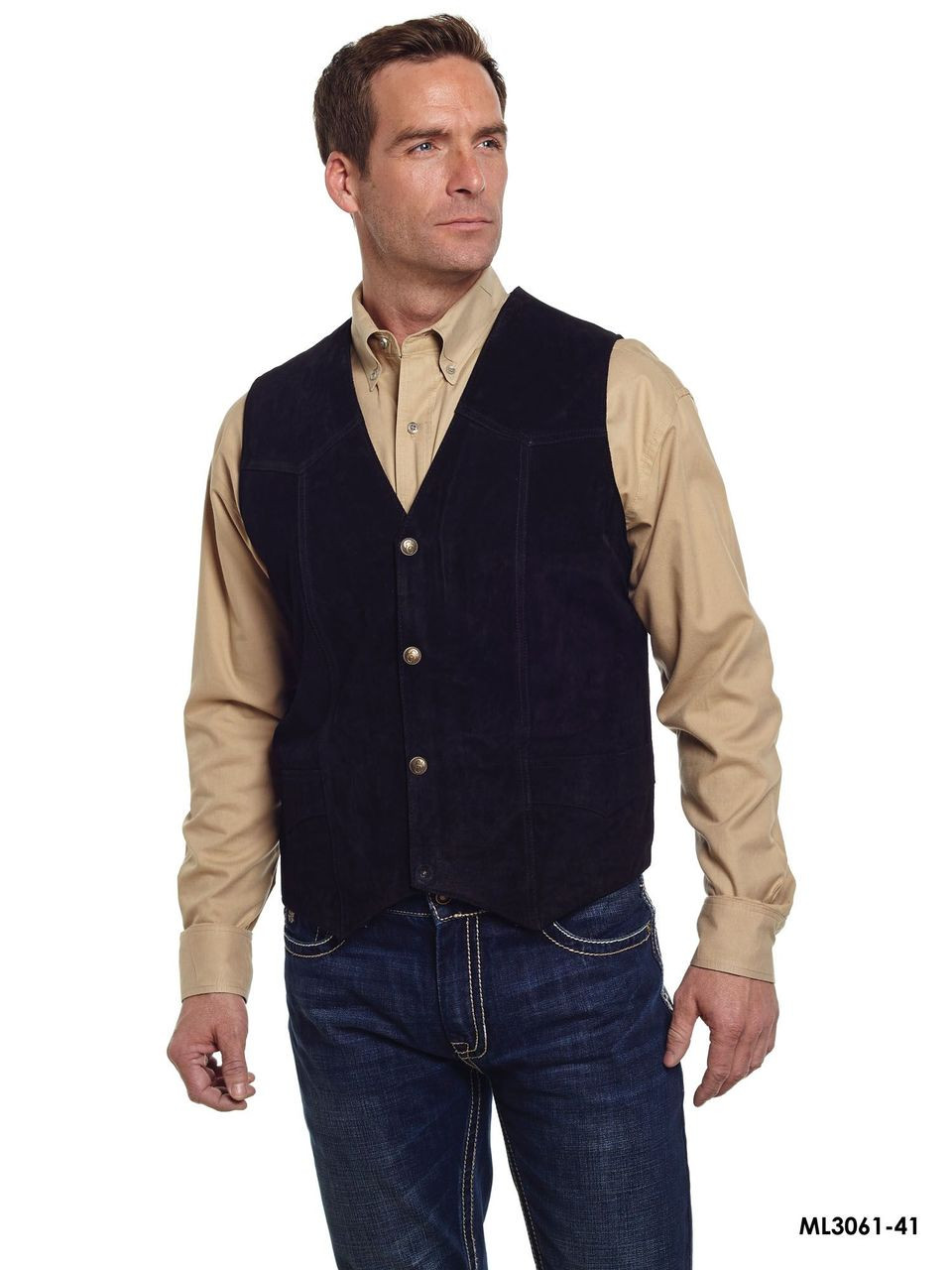 4dff8baa9b5 Cripple Creek Mens Suede Leather Snap Western Vest ML3061