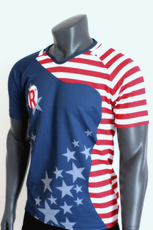 American Rucker Flag Jersey, Sublimated Rugby Jersey, Stars and Stripes