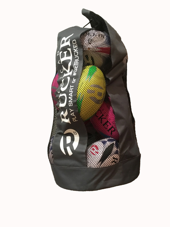 This Ball Bag comes with 10 American Rucker Balls.  There will be space for Cones, Head Guards, Padded Compression Vests, and Water Bottles.