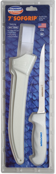 Dexter SOFGrip 8 inch Flexible fillet knife with sheath.