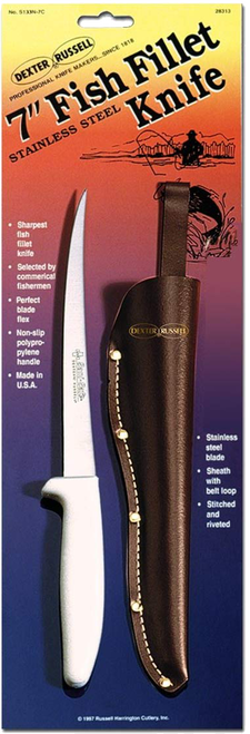 Dexter S133N-7C narrow, flexible fillet knife with leather sheath