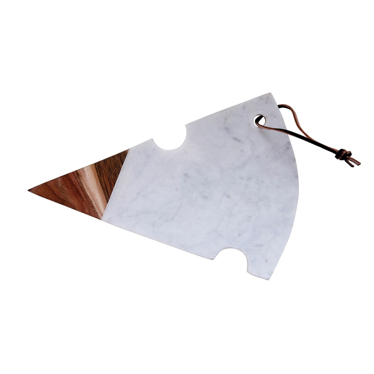 Marble & Acacia Wood Cheese Slice Cutting Board with Leather Tie.