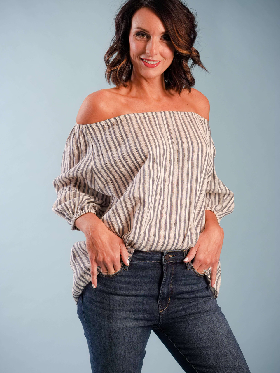 Striped Woven Blouse, Short Sleeve, Off The Shoulder, Model is wearing a small.