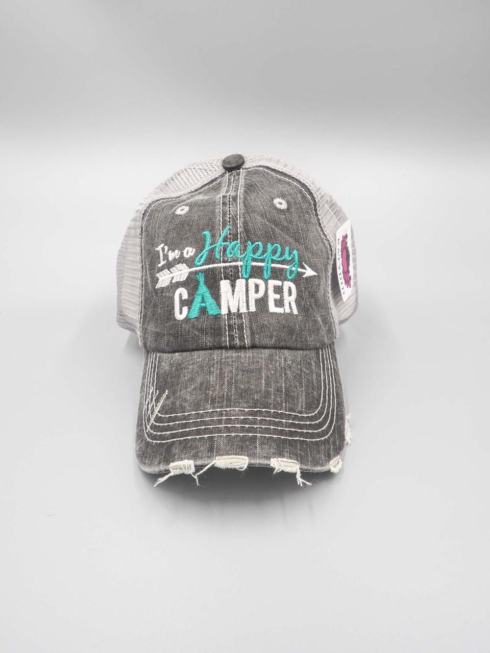 happy camper teal trucker hat katydid