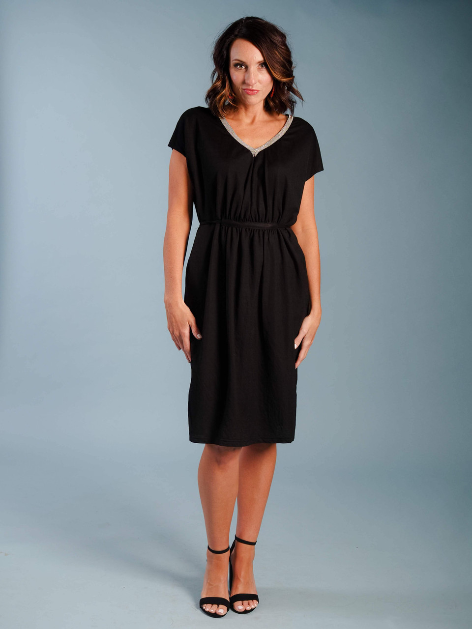 Soft jersey mid-length dress, Curved at the waist with a tie & pockets, Chic embellished silver V-neck, Model is wearing a small.
