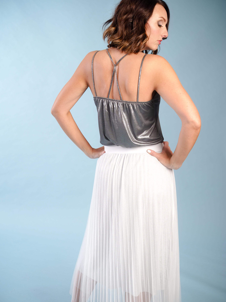 Iridescent grey v-neck modern camisole, Back crisscross straps,  Model is wearing a small/medium.