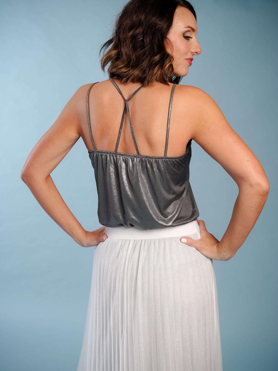 Iridescent grey v-neck modern camisole, Back crisscross straps, Model is wearing a small/medium.