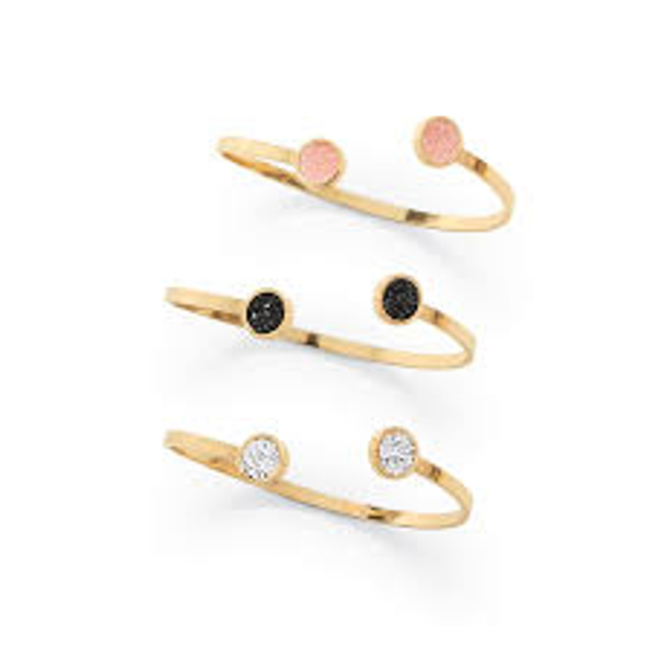 Adjustable gold cuff bracelet with druzy stone detail, packaged in a gift box.  Available in 3 colors, black, blush & silver.