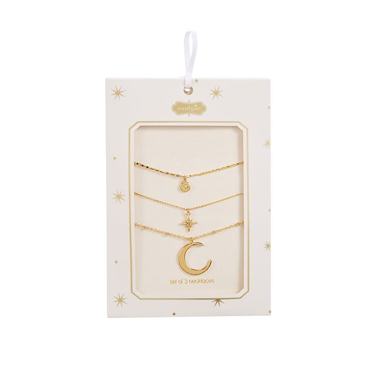 Includes three different gold metal chain necklaces with delicate moon and star pendants. Can be worn individually or layered together. Available in 3 styles. Comes in gift-ready packaging.