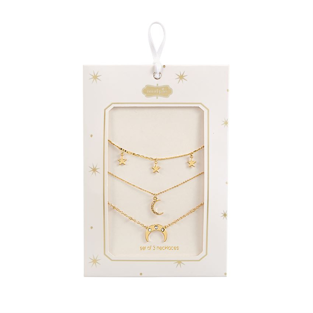 Includes three different gold metal chain necklaces with delicate moon and star pendants. Can be worn individually or layered together.  Available in 3 styles: Crescent, Moon or Stars.  Comes in gift-ready packaging.