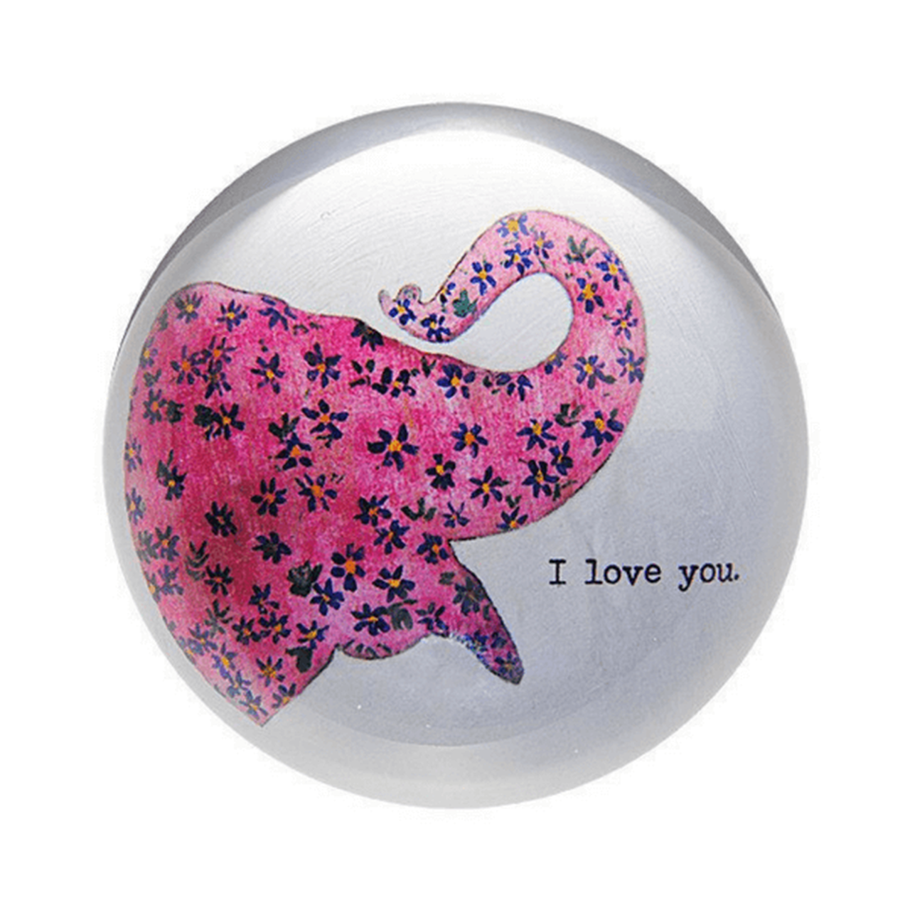 """This classic paperweight features a pink floral elephant and the phrase, """"I love you."""""""