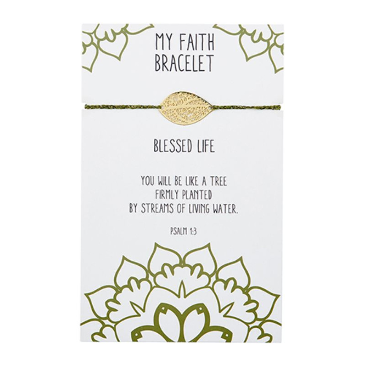 Beautifully designed, this easy to wear adjustable bracelet with center brass filigree leaf charm is great to wear alone or stacked with other bracelets. A thoughtful gift at an attractive price point! Backer card includes corresponding Bible verse Psalm 1:3.