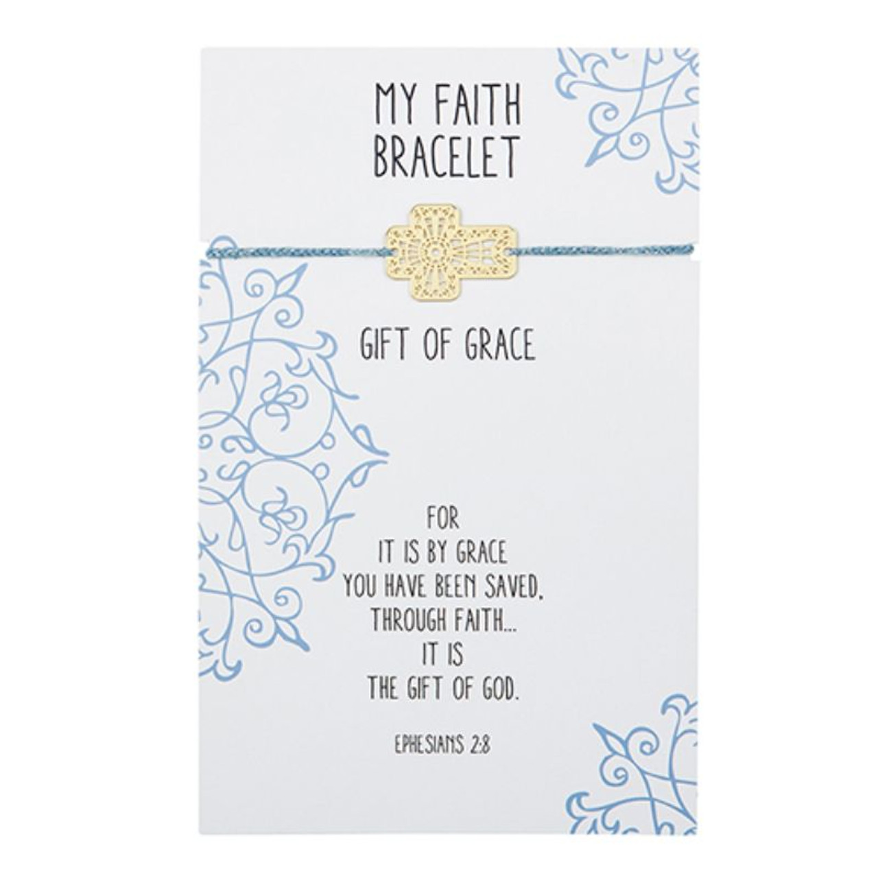 Beautifully designed, this easy to wear adjustable bracelet with center brass filigree cross charm is great to wear alone or stacked with other bracelets. A thoughtful gift at an attractive price point! Backer card includes corresponding Bible verse Ephesians 2:8.