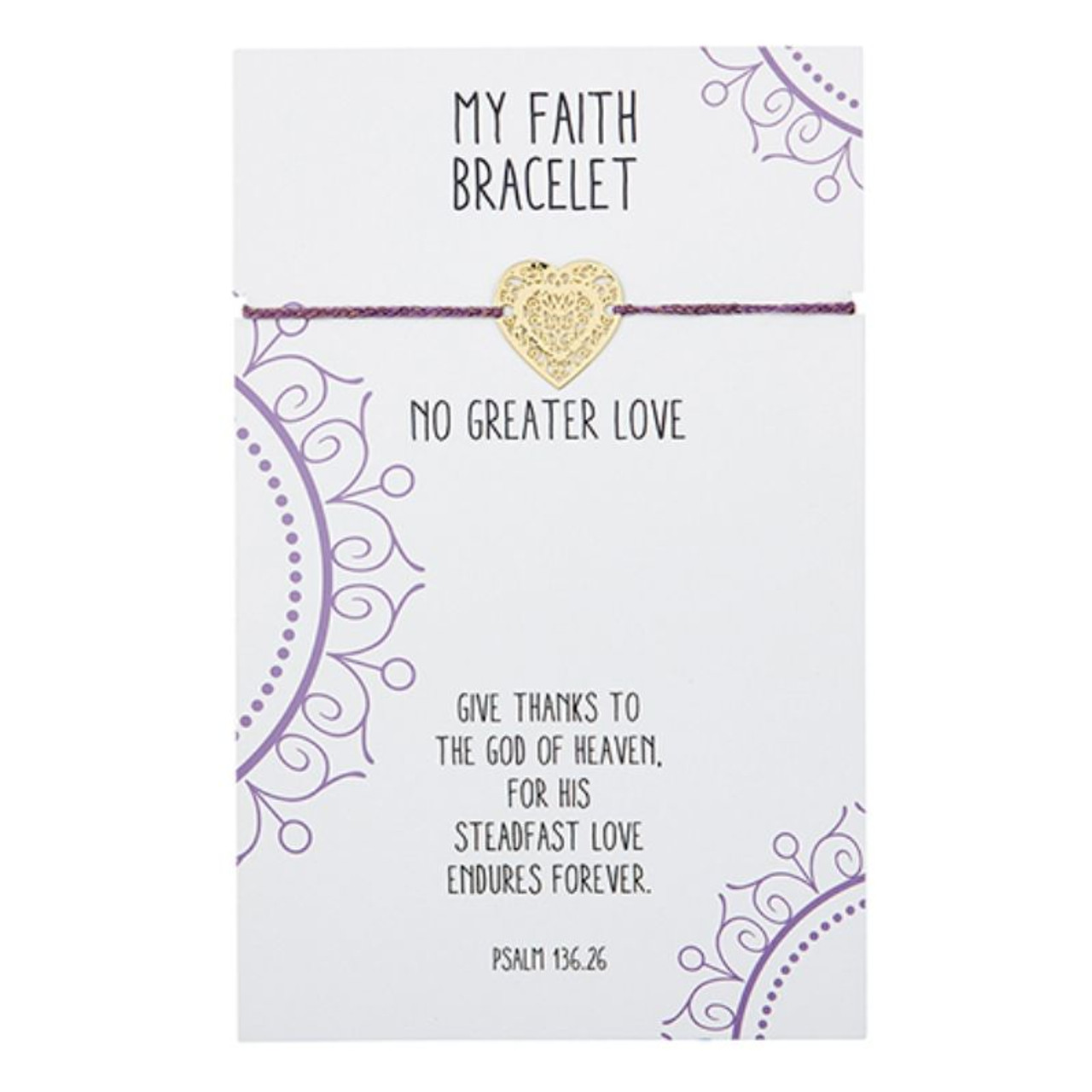 Beautifully designed, this easy to wear adjustable bracelet with center brass filigree heart charm is great to wear alone or stacked with other bracelets. A thoughtful gift at an attractive price point! Backer card includes corresponding Bible verse Psalm 136:26.