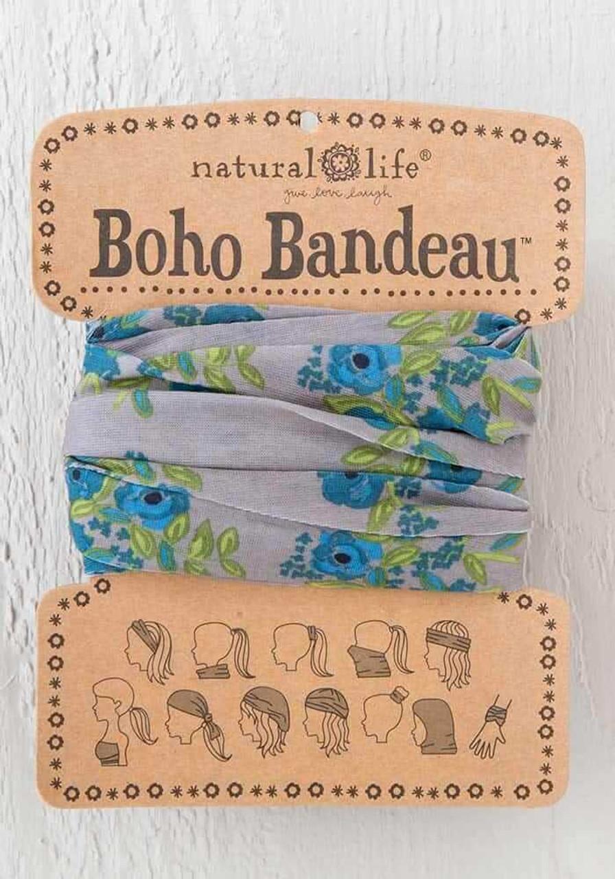 Blue Taupe Blooms Boho Bandeau