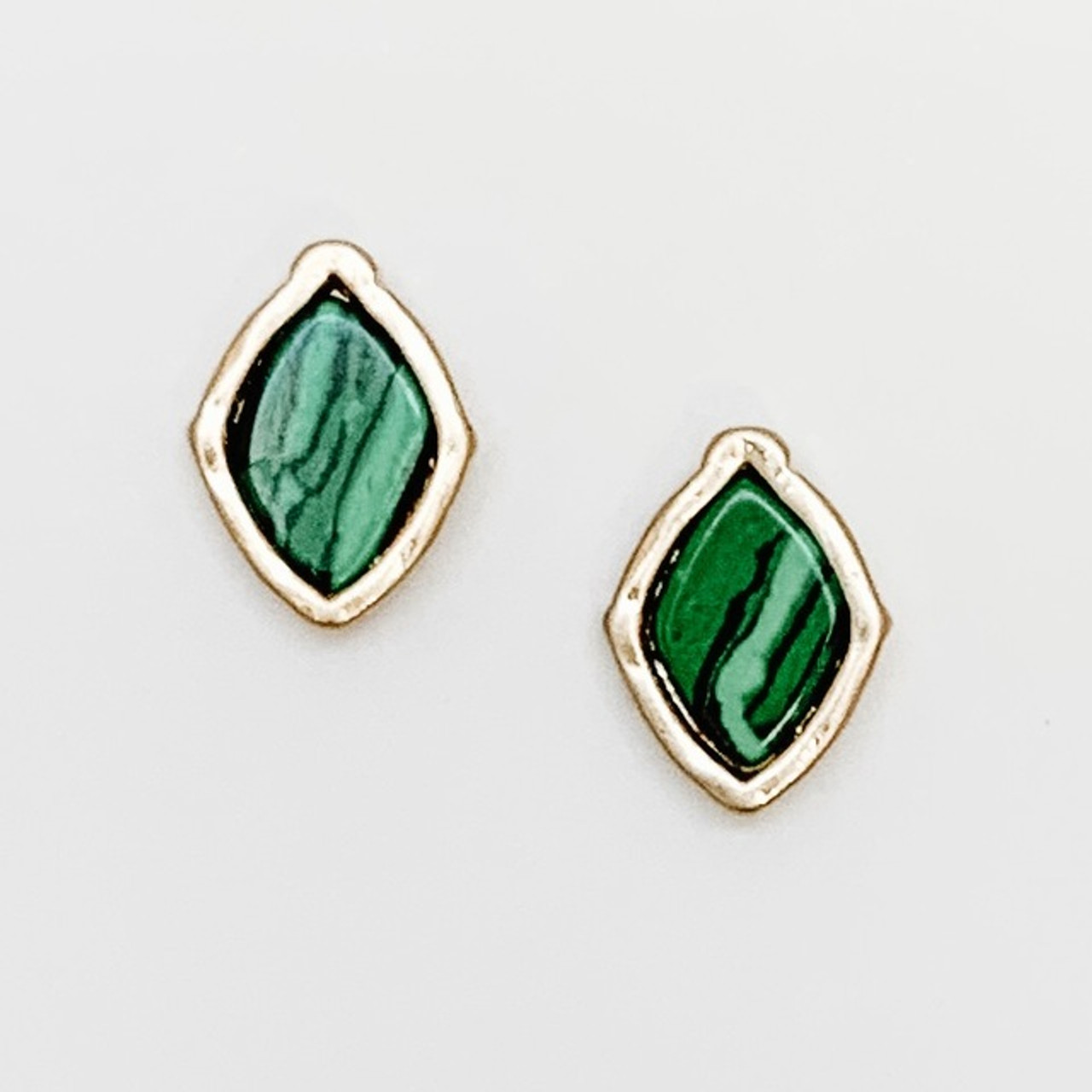 GREEN stone post earrings with gold frame, Nickel and lead free.