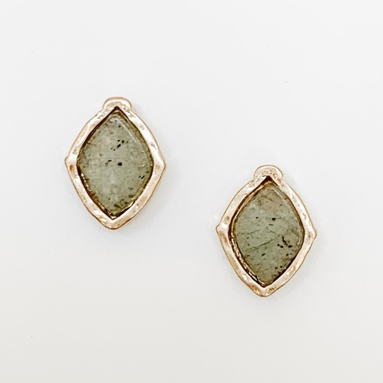 GREY stone post earrings with gold frame, Nickel and lead free.