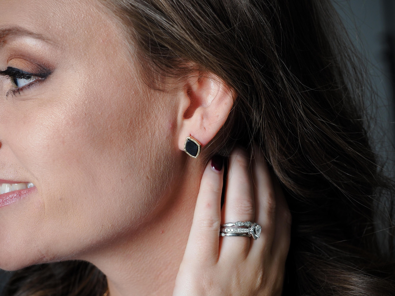 BLACK stone post earrings with gold frame, Nickel and lead free.