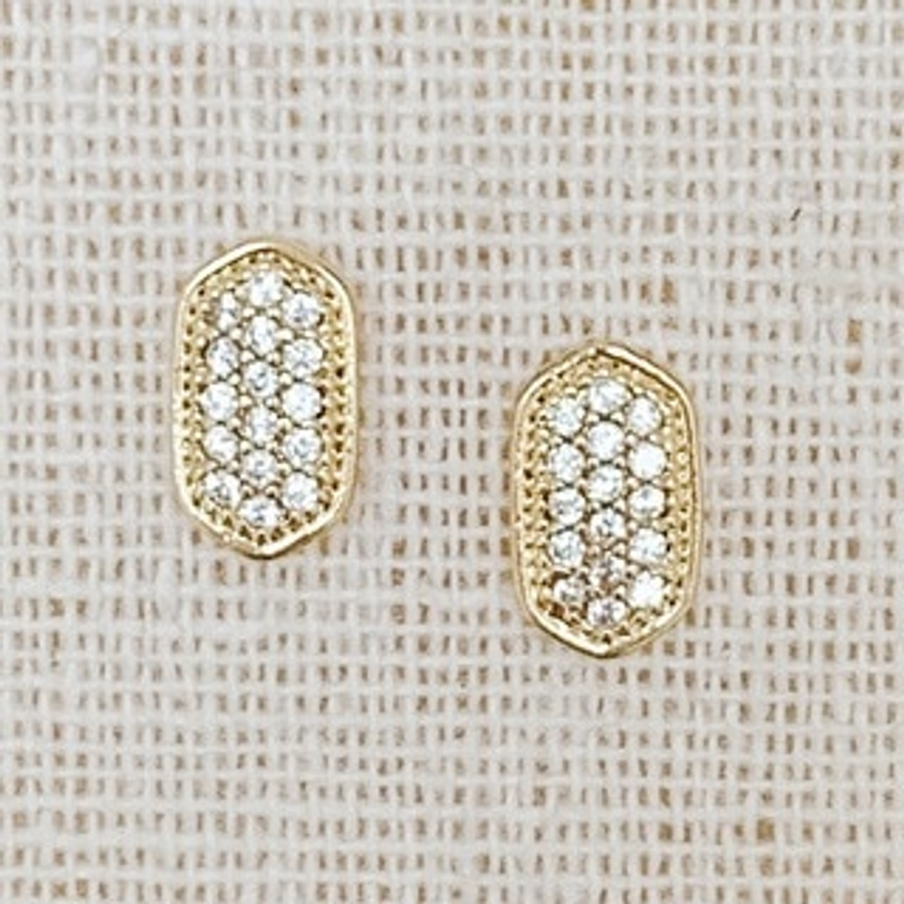 Sparkly Dainty Stud Earrings in Gold, Cubic zirconia, Gold dipped, Sterling silver post, Nickel and lead free.