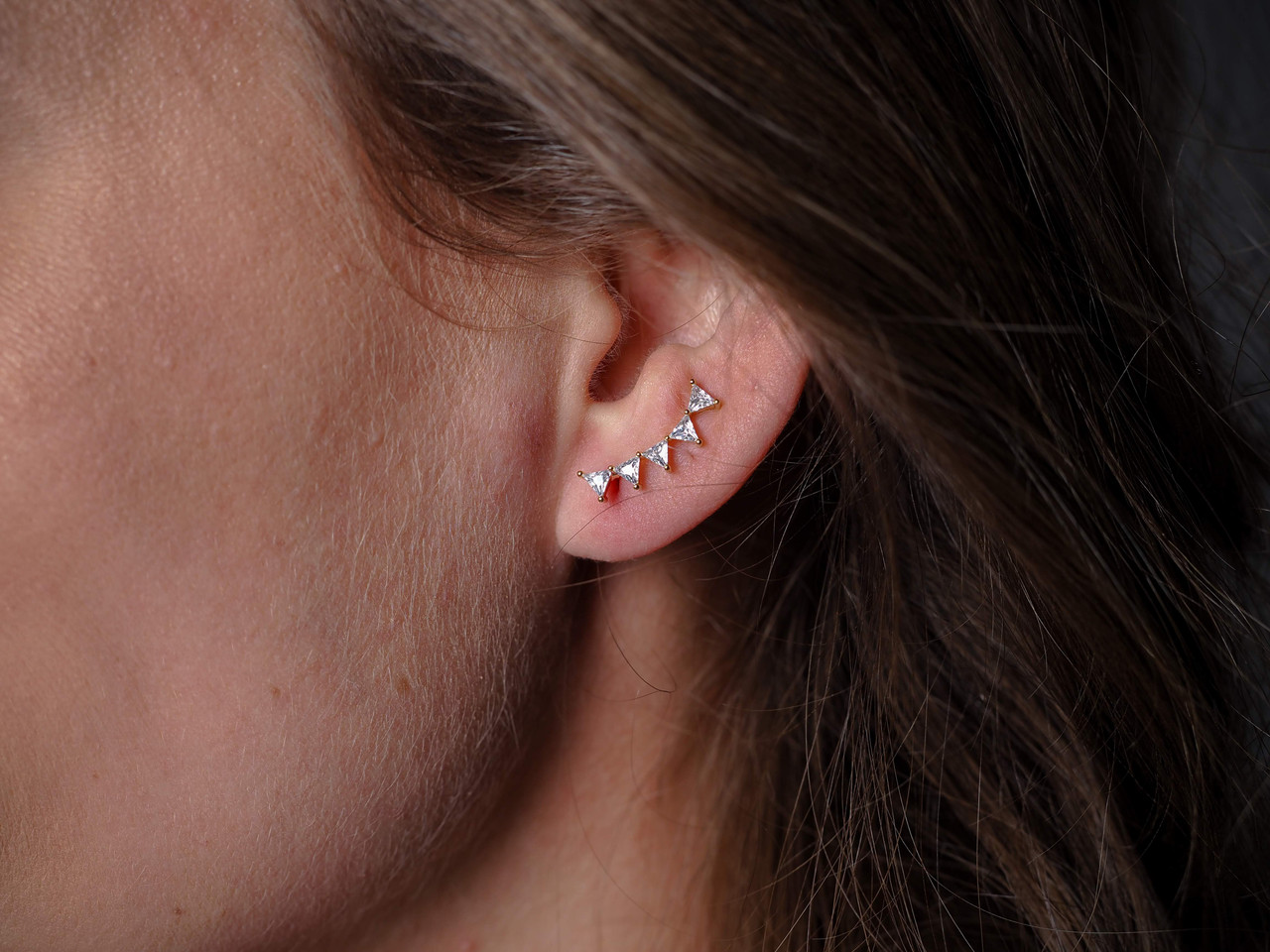 Triangle cubic zirconia crawler earrings, Available in GOLD or SILVER, Sterling silver post, Nickel and lead free.