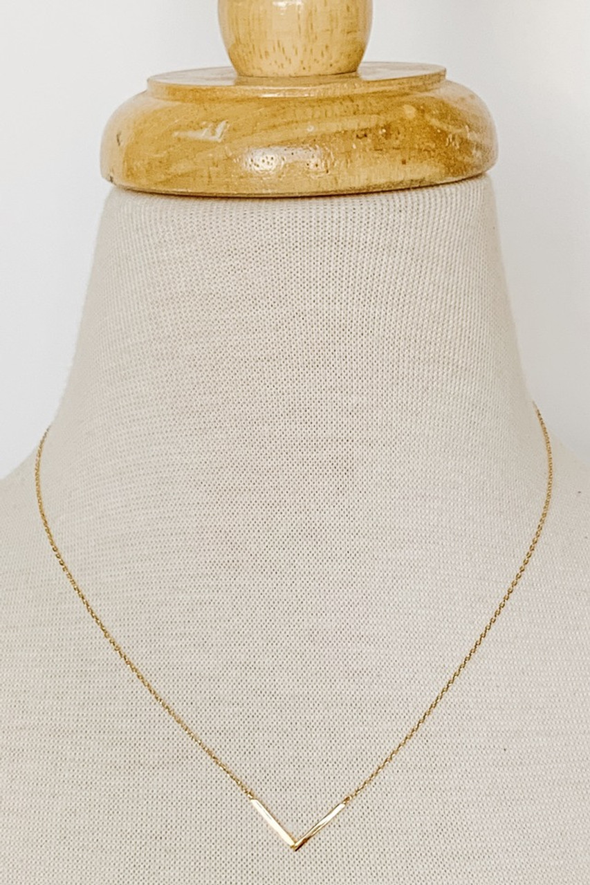 "Dainty V Collar Necklace, Gold dipped, Adjustable 14-16"" chain, Nickle and lead free."
