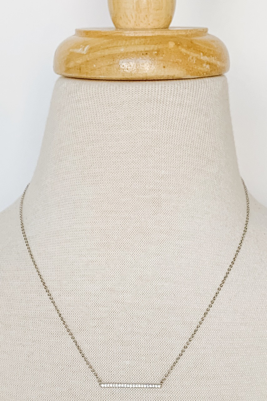"""Zirc Bar Dainty Necklace, Cubic Zirconia-filled bar, Available in GOLD or SILVER, Adjustable 14-16"""" chain, Nickle and lead free."""