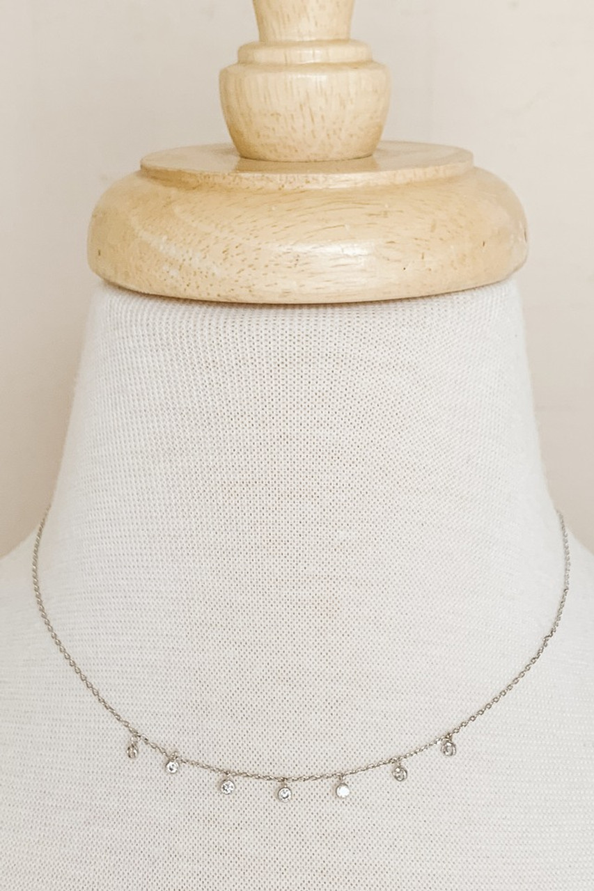 """Seven-Drop Dainty Necklace, Seven small pendants with cubic zirconia, Available in GOLD or SILVER, Adjustable 15.5-17.5"""" chain, Nickle and lead free."""