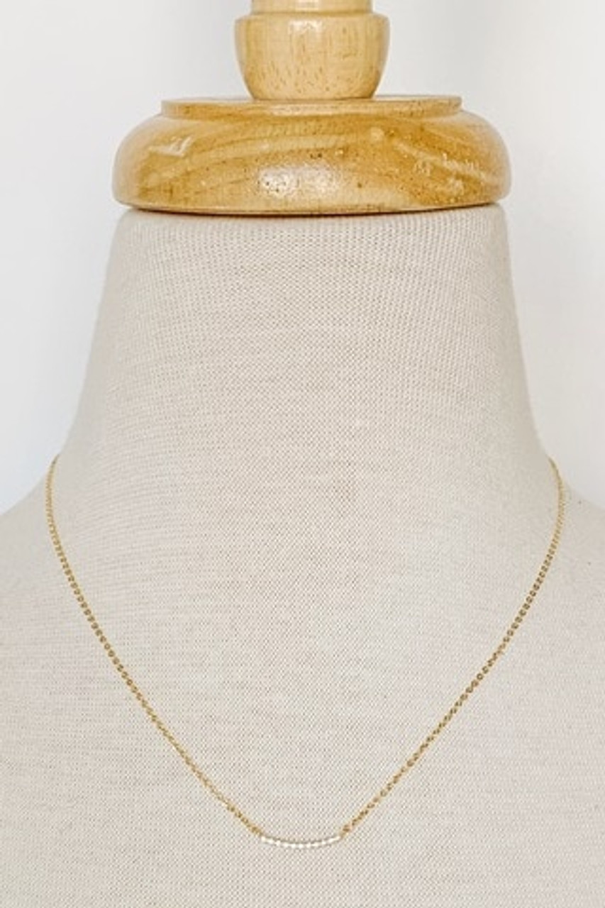"""Zirc Curved Bar Dainty Necklace, Cubic Zirconia-filled curved pendant bar, Available in GOLD or SILVER, Adjustable 14-16"""" chain, Nickle and lead free."""