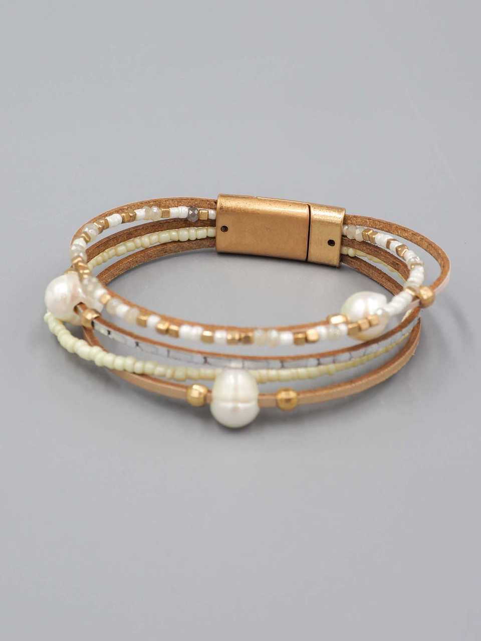 multi layered pearl accent bracelet