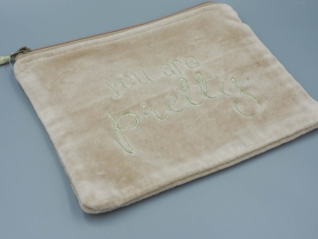 velvet zip pouch