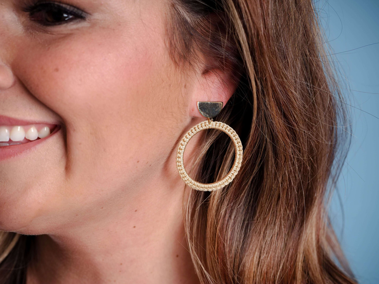 Half-circle gold post earrings with natural string-wrapped circle dangle, Nickel and lead free.