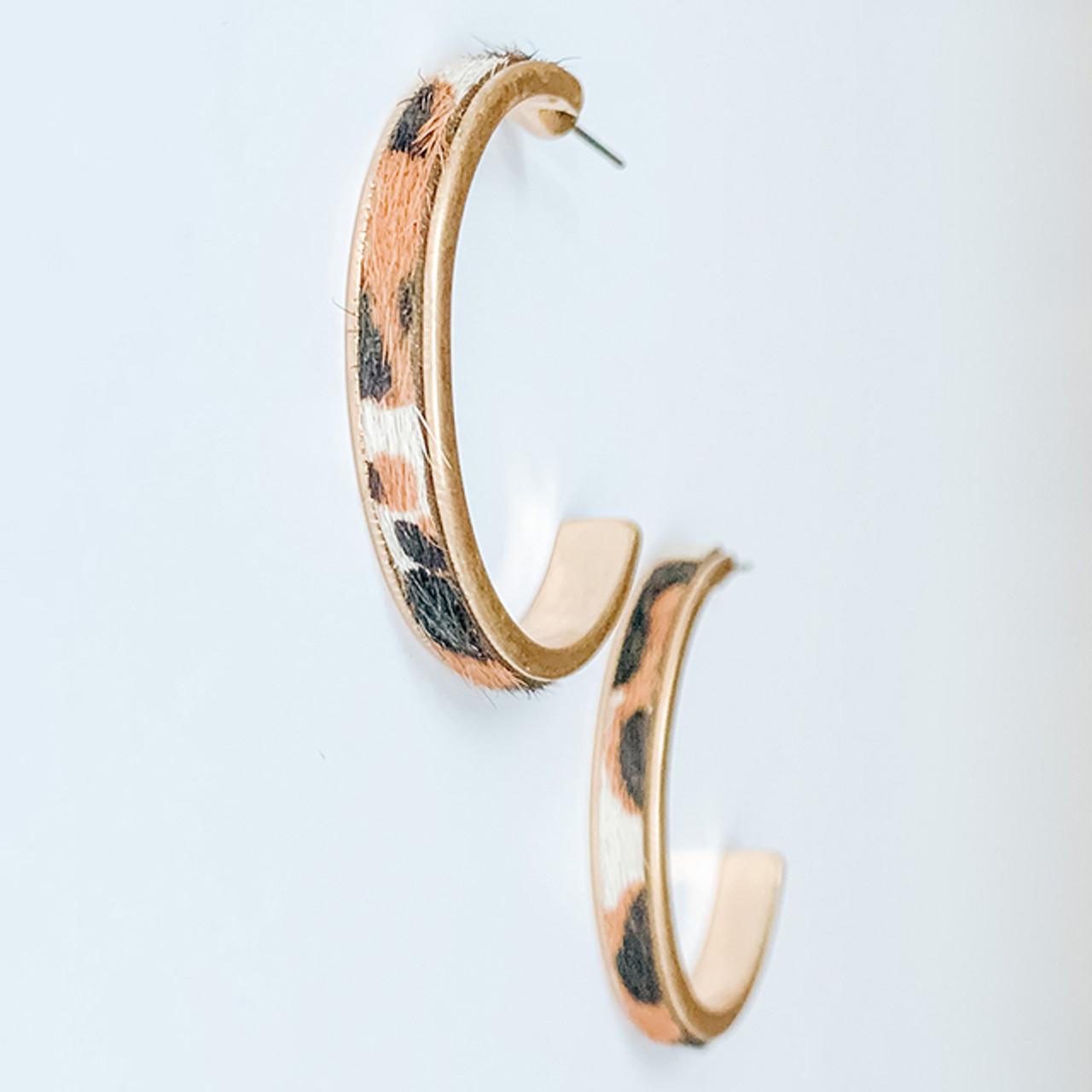 Ivory, black & brown calf-hair hoop earrings, Nickel and lead free.