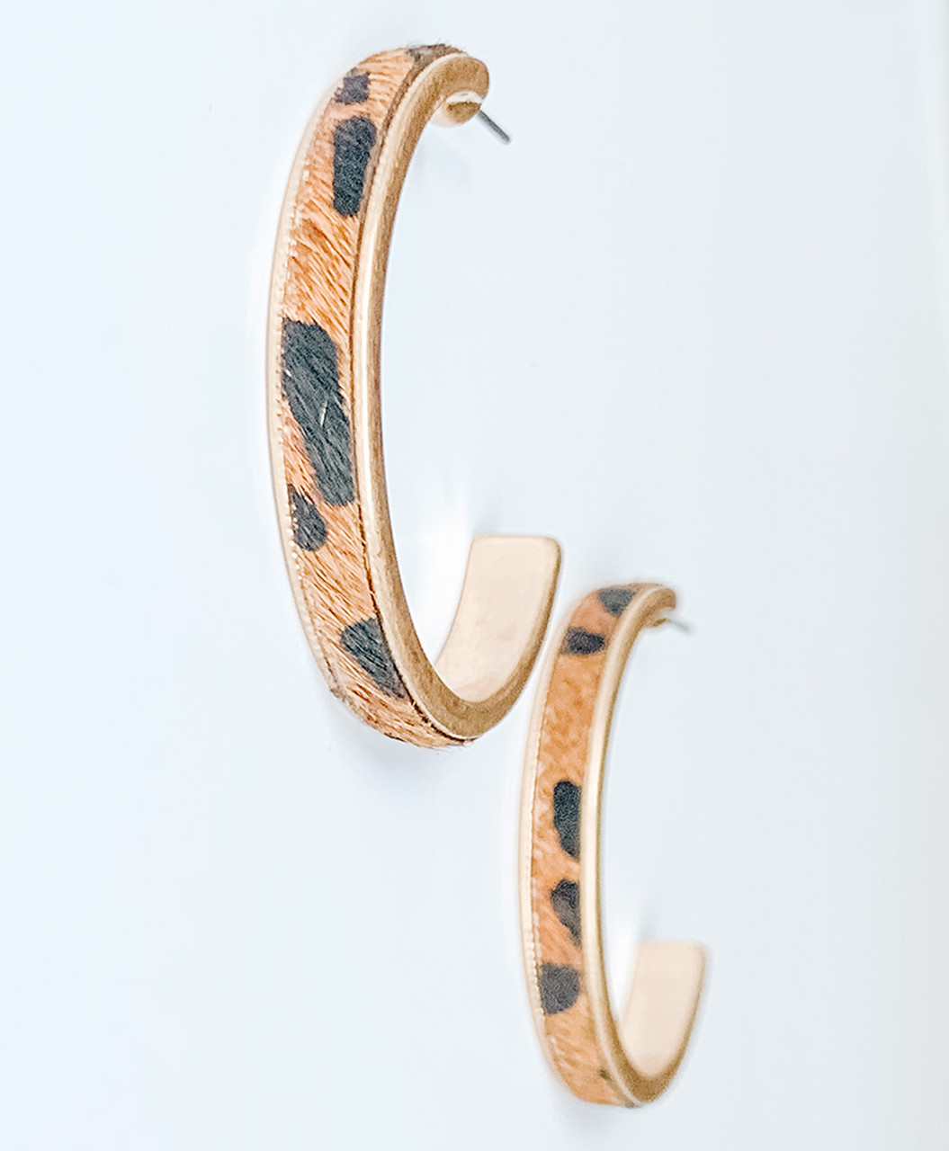 Black & brown calf-hair hoop earrings, Nickel and lead free.
