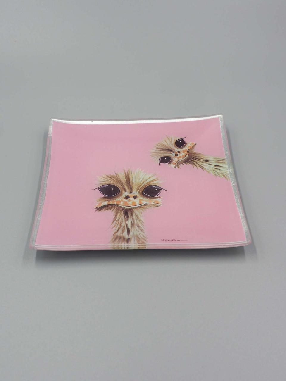pink ostrich glass trinket dish studio oh