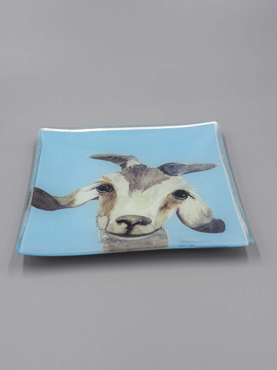 gilbert the goat glass trinket dish studio oh