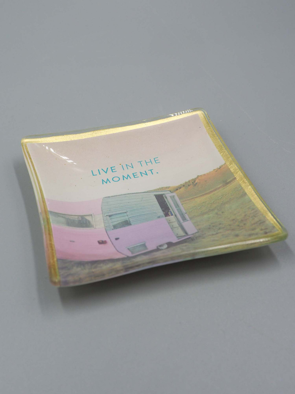 live in the moment glass trinket dish studio oh