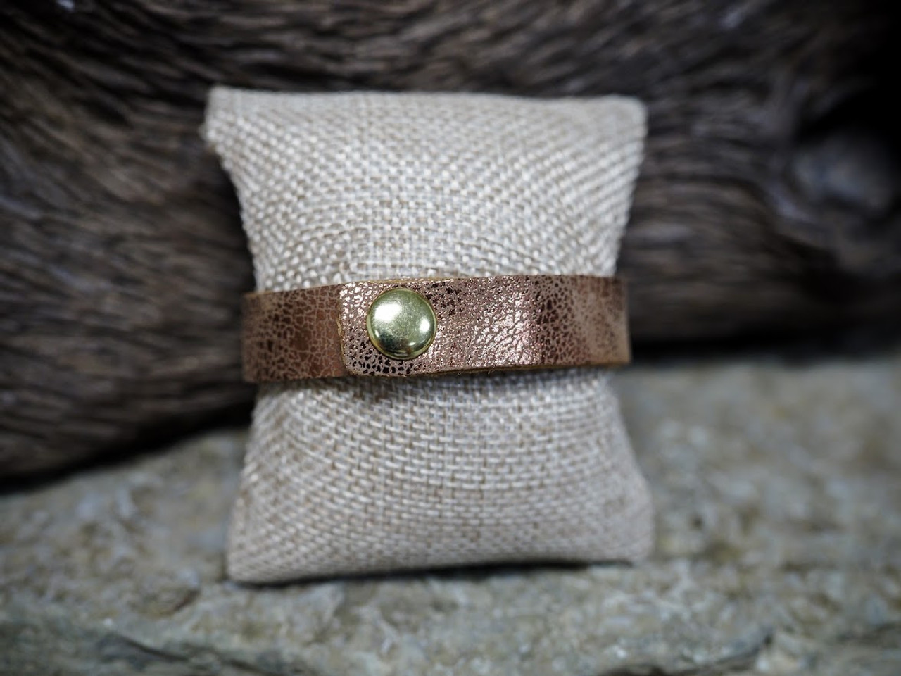 Bronze Leather Bracelet With Hammered Metal Gold Accent