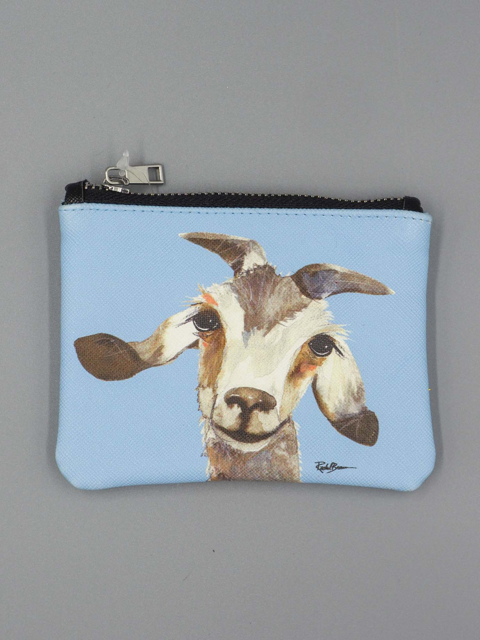 gilbert the goat blue small zippered pouch studio oh