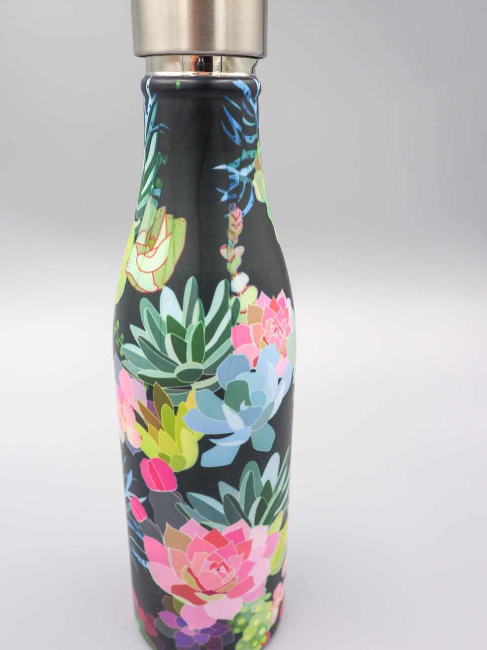 floral succulents water bottle 17oz stainless steel studio oh
