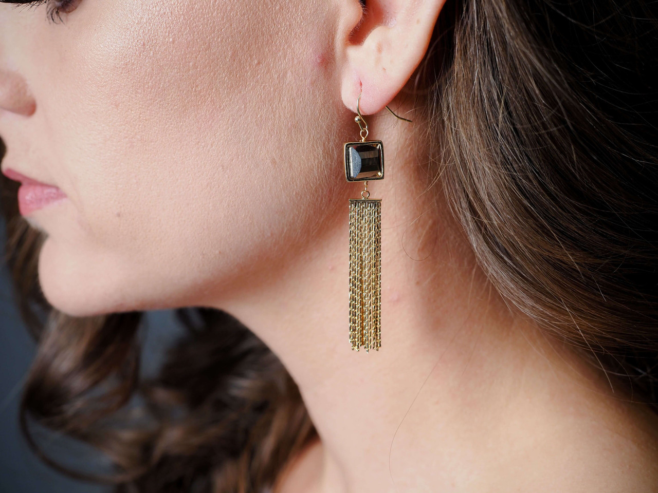 Gold metal tassel earrings with grey square stone, Nickel and lead free.