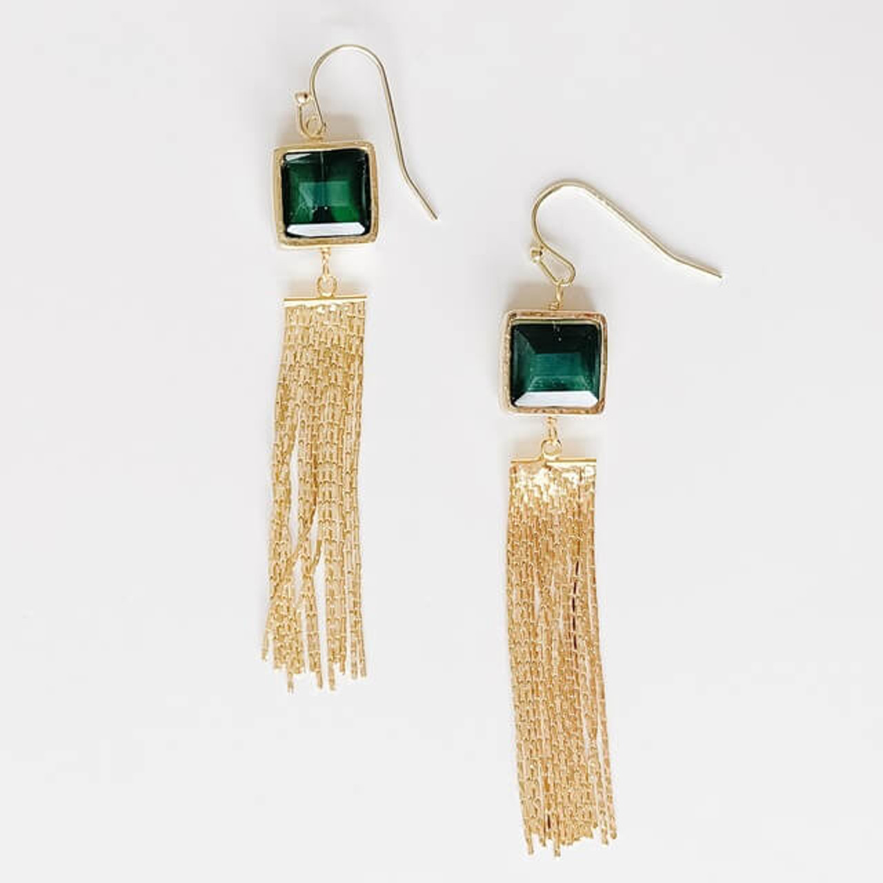 Gold metal tassel earrings with green square stone, Nickel and lead free.