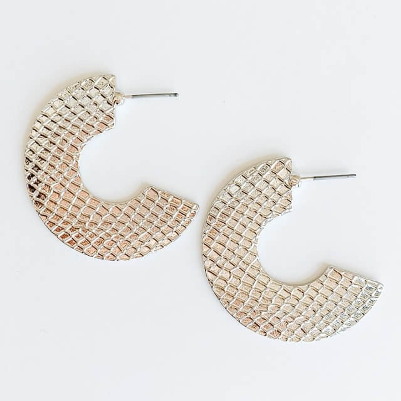 Silver snakeskin textured metal earrings, Nickel and lead free.