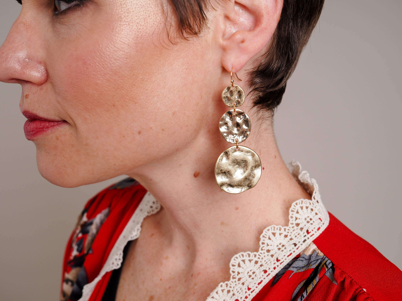 Gold 3-Circle Drop Earring with Hammered Detail, Nickel and lead free.