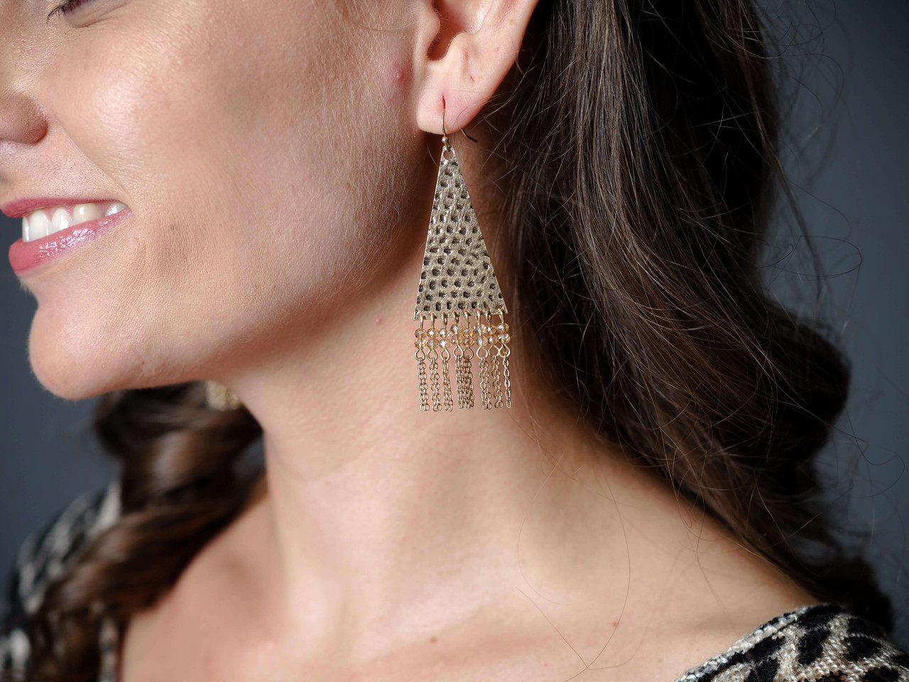 Gold Hammered Triangle Earrings with Natural Beaded Detail.
