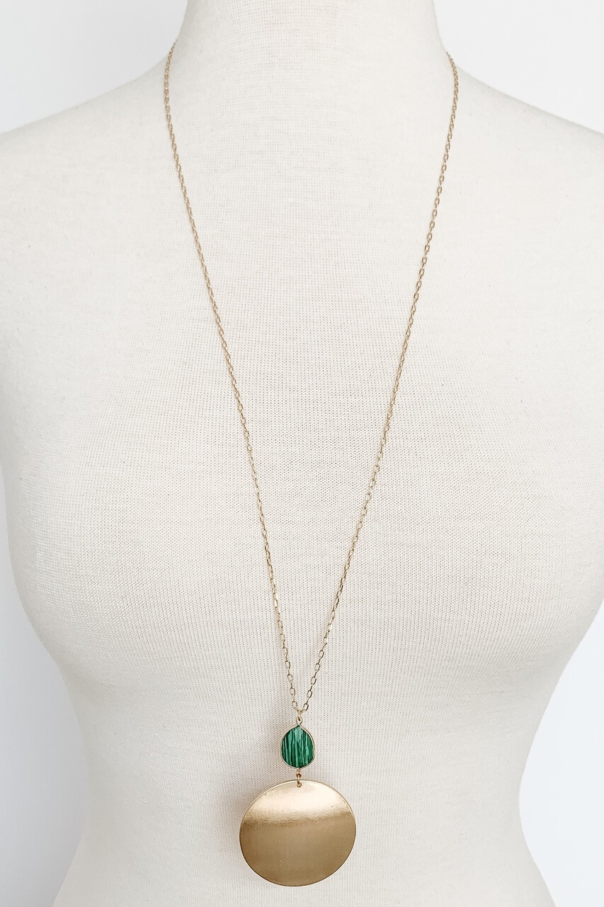 Long necklace with gold metal circle and Malachite Green stone pendant, Nickle and lead free.