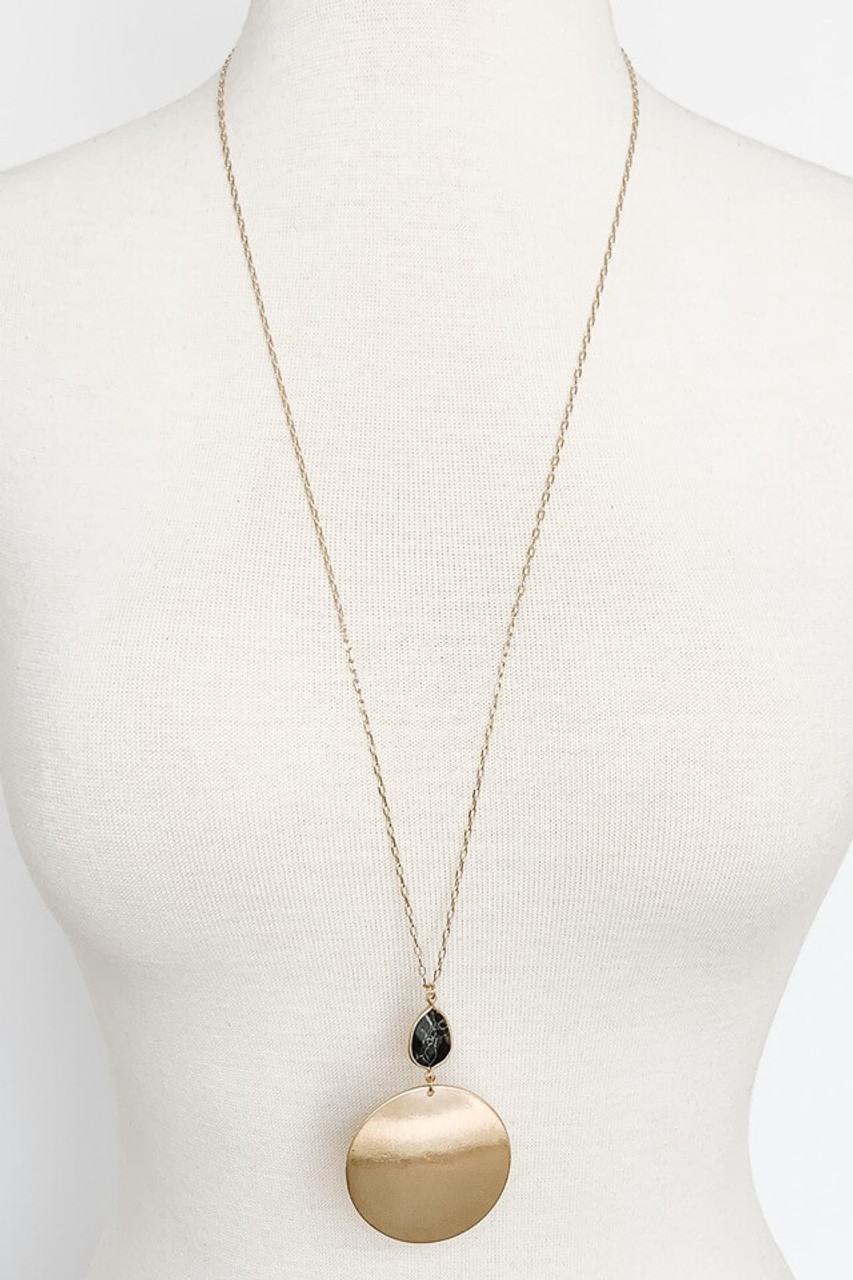 Long necklace with gold metal circle and Black Marbled stone pendant, Nickle and lead free.