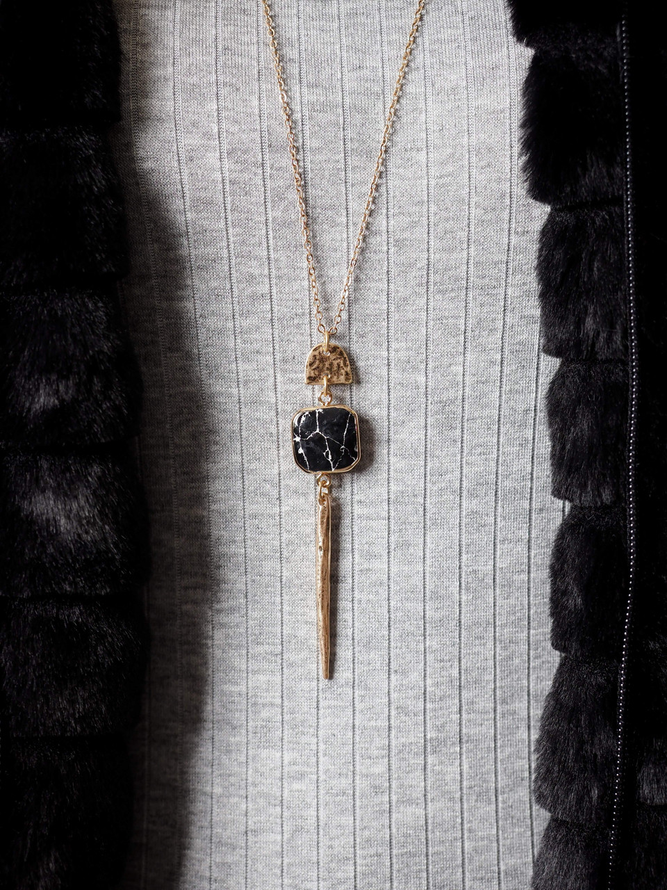 Gold Metal and Black Marbled square stone pendant necklace, Nickle and lead free.